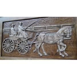 Lovaskép lófogat faragott lovak